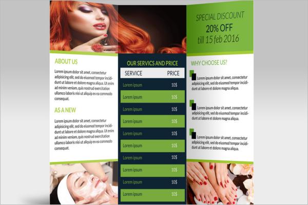Tri-Fold Beauty parlour Brochure Template