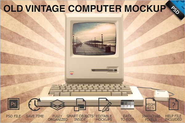 Vintage Computer Display Mockup