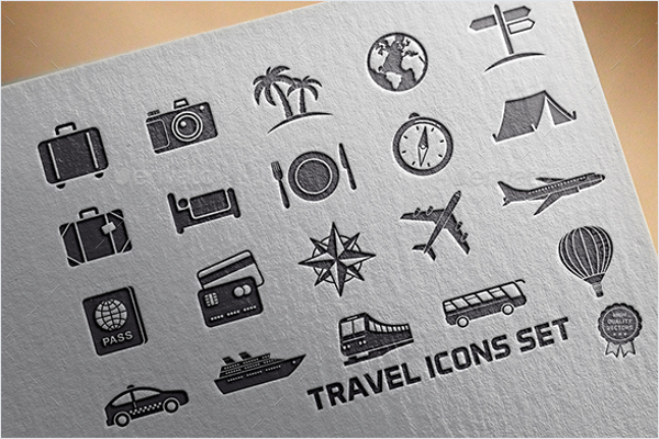 Vintage Travel Icons Vector