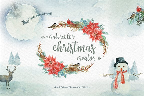 Water Color Christmas Party Background