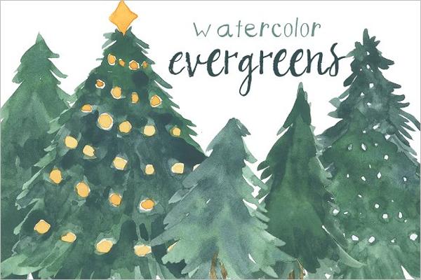 Watercolor Christmas Tree Drawing