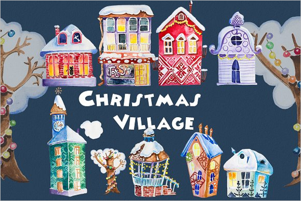 Watercolor Christmas Village Template