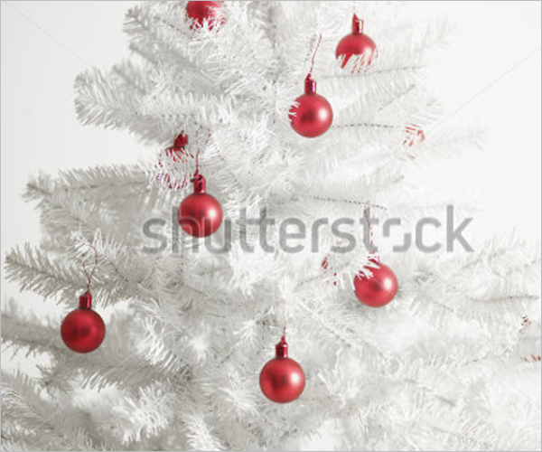 White Christmas Tree with Red Baubles