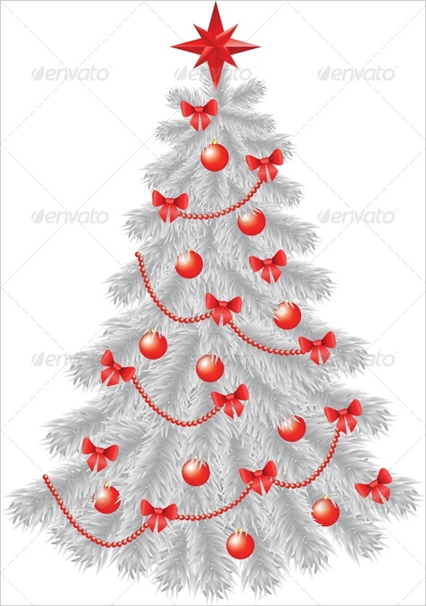 White Christmas Tree with Red Decoration