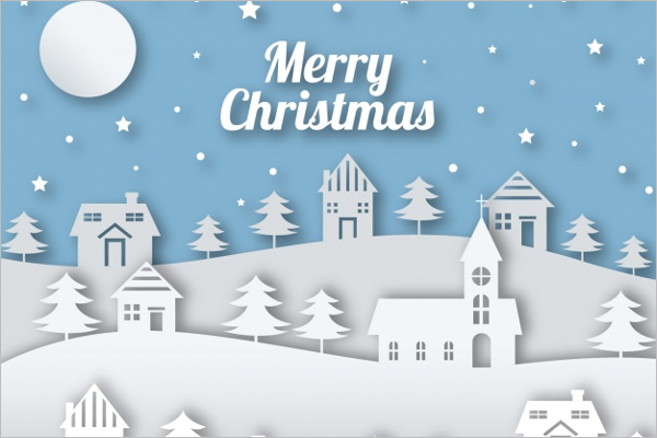 White Christmas Village Decoration Template