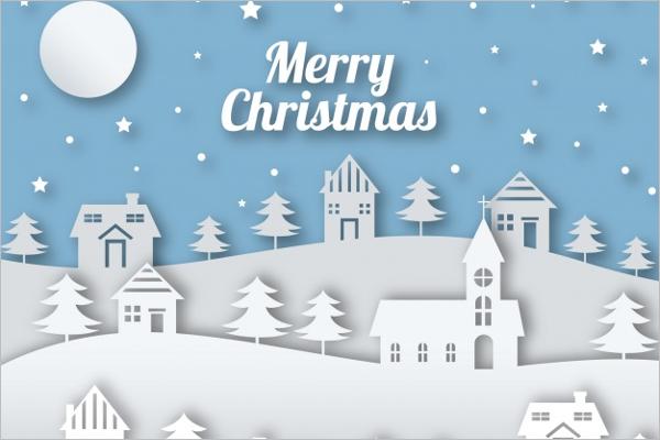 White Christmas Village Decoration Template
