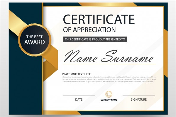 golden award certificate template free