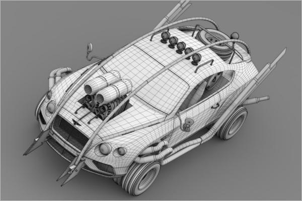 3D Wall Paper Car Model