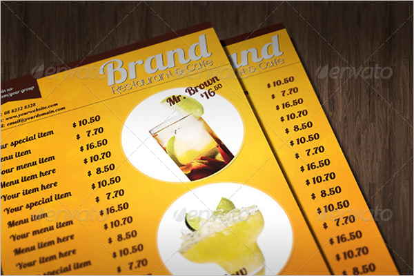A4 Drink Menu Template
