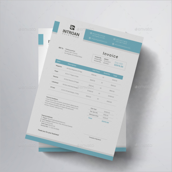 A4 Freelance Invoice Format