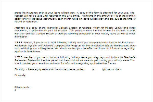 Absence Leave Letter Template