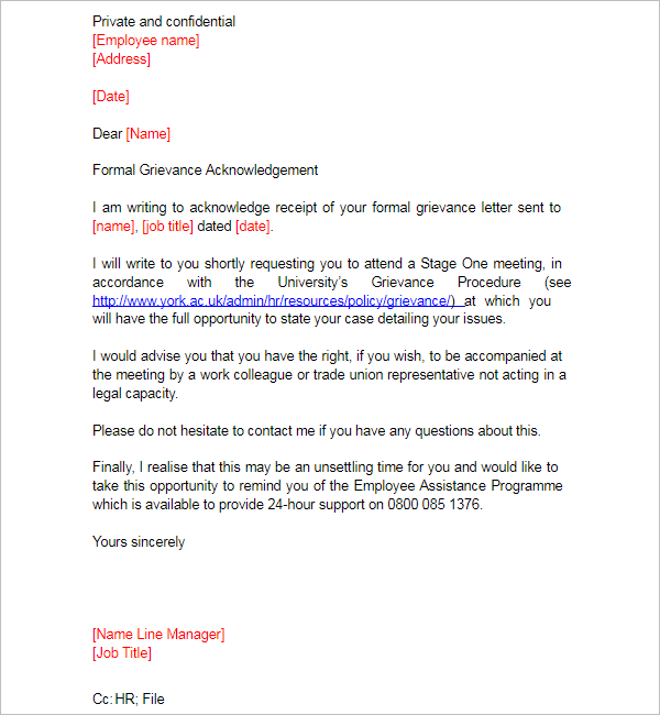 Acknowledgement Letter For Employee Status
