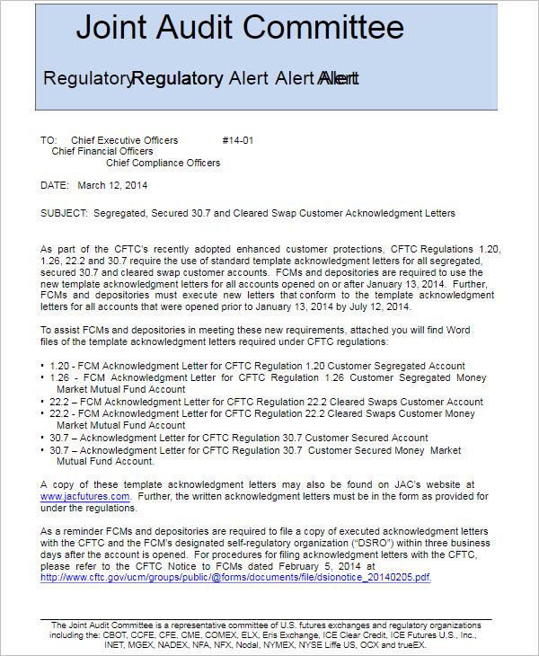 Acknowledgement Letter Format PDF