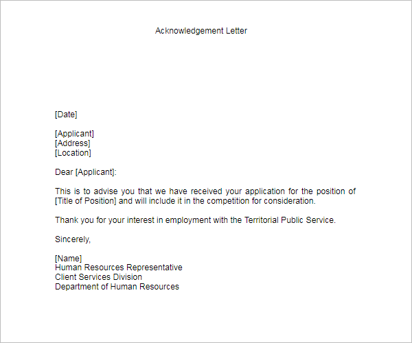 Acknowledgement Letter PDF