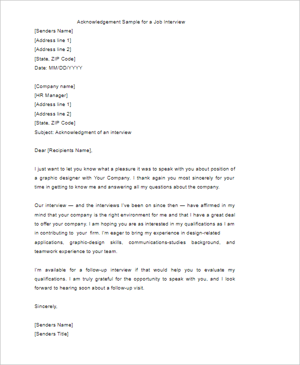 Acknowledgement Letter Sample Doc