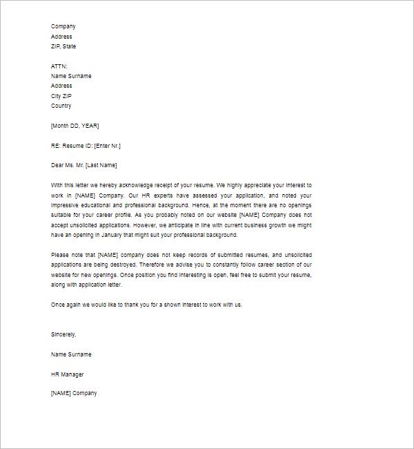 Acknowledgement Letter Sample Format