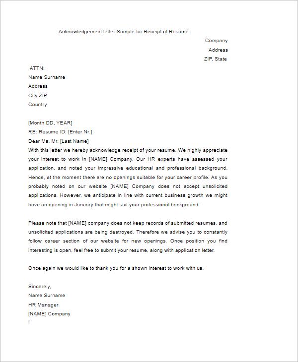 40 free acknowledgement letter templates pdf sample formats acknowledgement letter sample thecheapjerseys Images