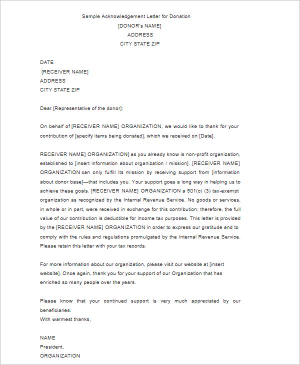 Acknowledgement Letter Template Doc