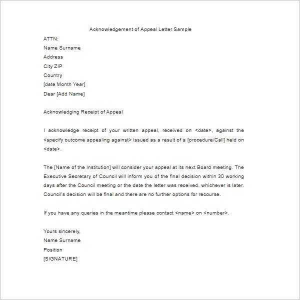 Acknowledgement Of Apparel Letter Sample