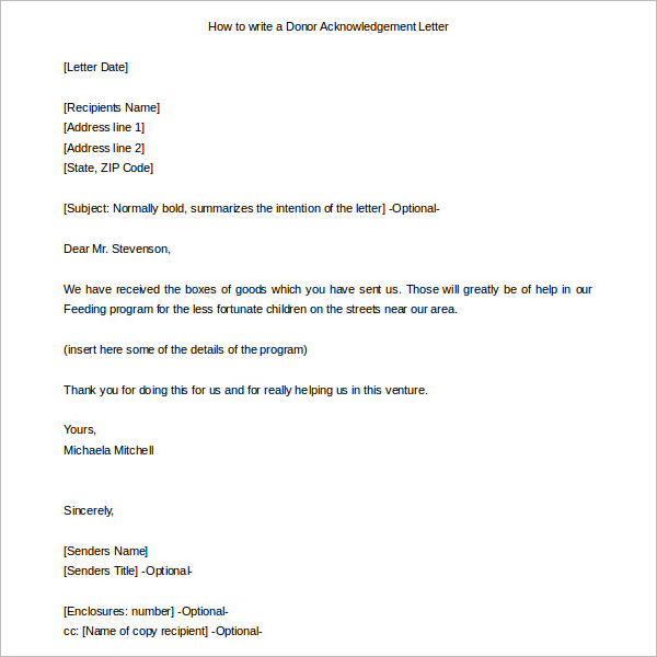 Acknowledgement Of Donor Letter Template