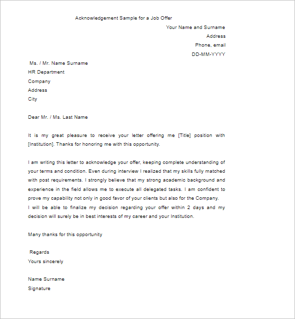 Acknowledgement Of Job Offer Letter Sample