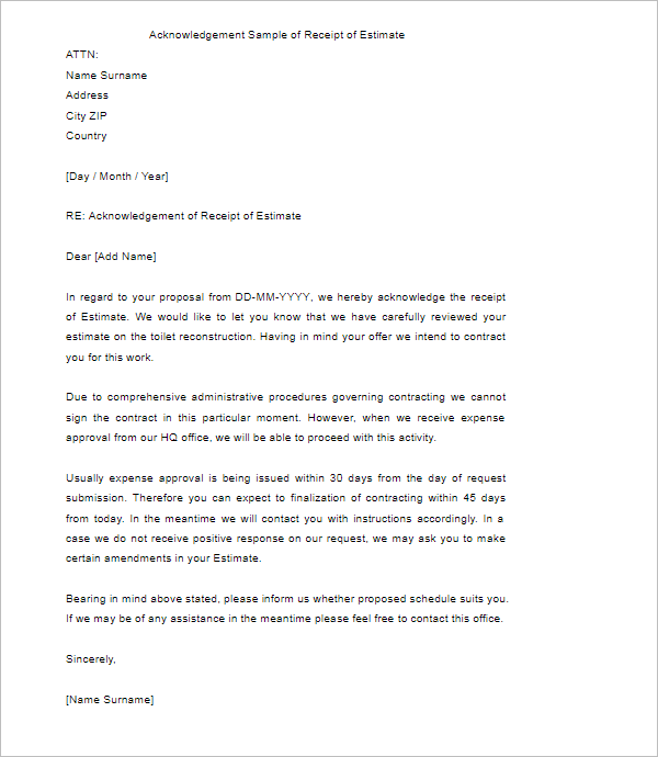 Acknowledgement Of Receipt Letter Template