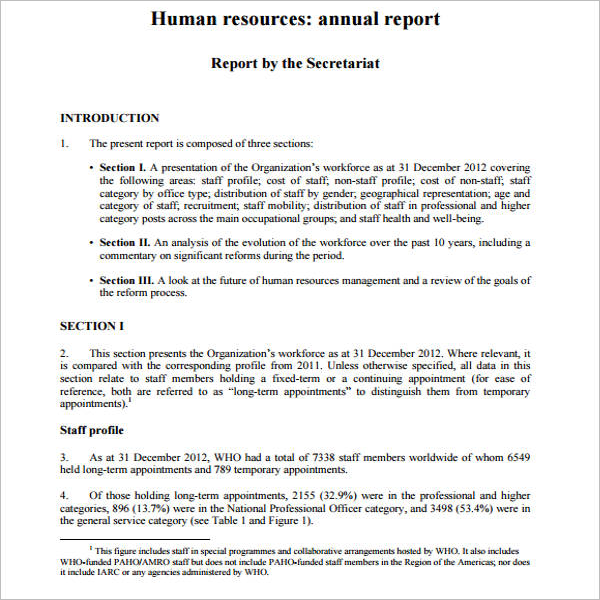 Annual Report Template For Human Resource