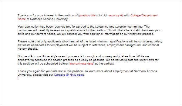 Application Received Acknowledgement Letter Sample