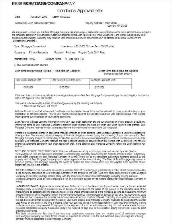 Approval Letter Sample