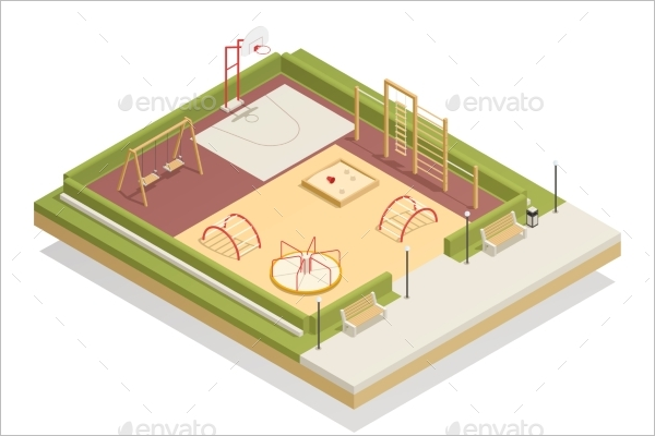 Basketball Court Mockup Vector