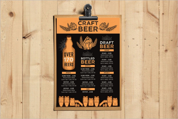 Beer Menu Card Template
