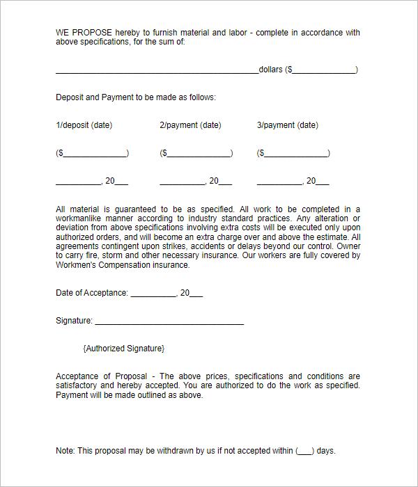 Bid Proposal Format Template