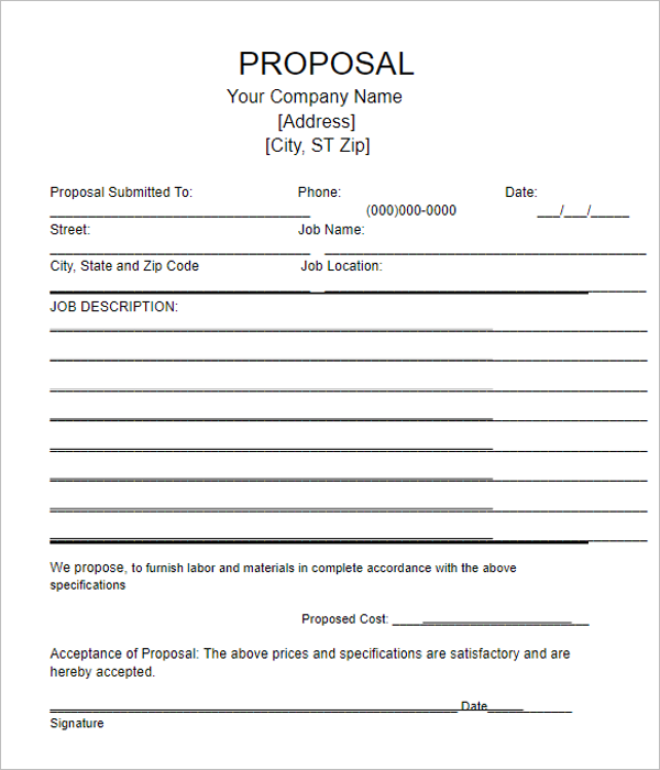 Blank Bid Proposal Template
