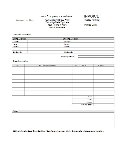 blank contractor invoice template