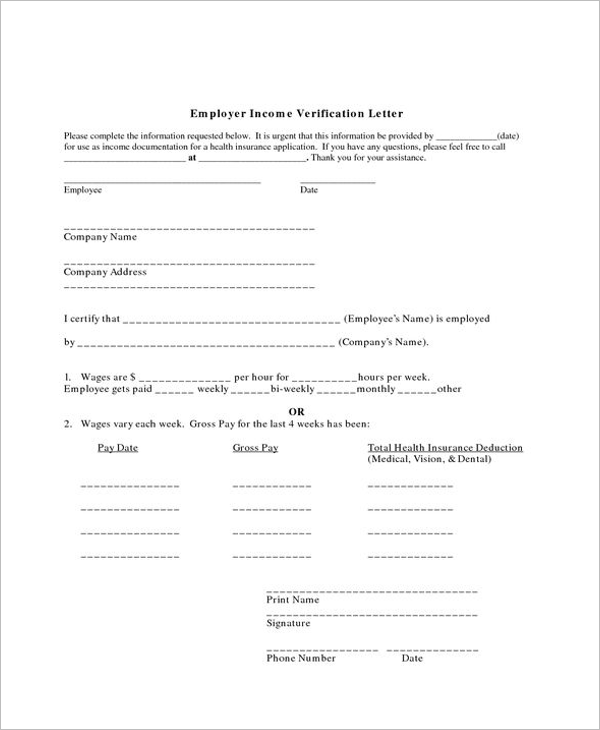 Blank Proof Of Income Letter Tempate