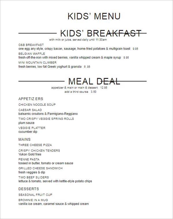 Breakfast Menu Card Template
