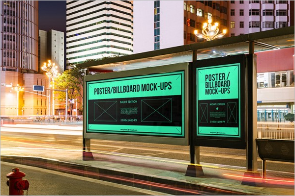 Bus Stop Billboards Mockup Free PSD
