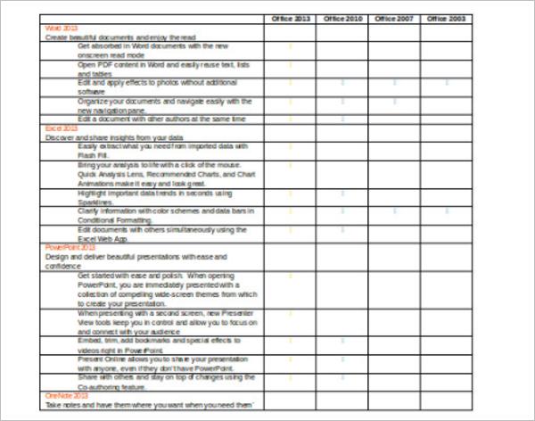 Business Comparison Chart Template