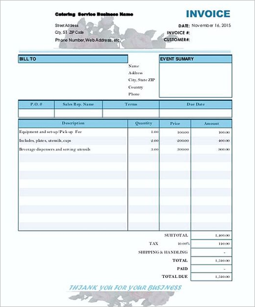 Business Contractor Invoice Template