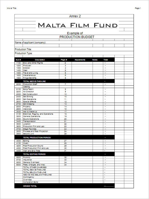 Capital Project Budget Template