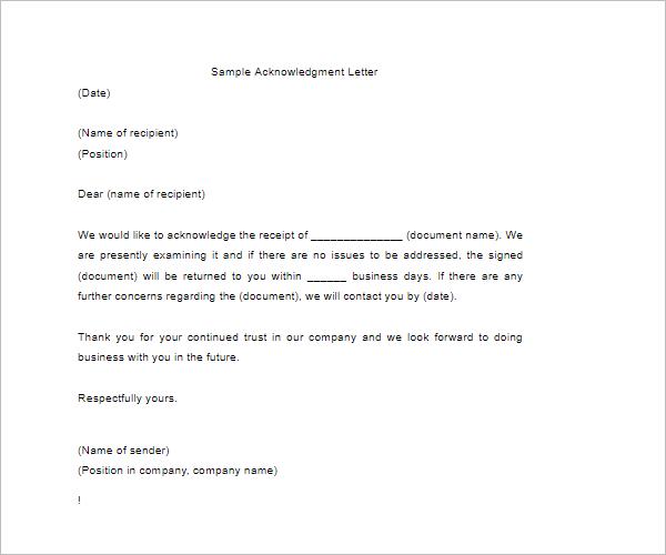 CharityAcknowledgement Letter Template