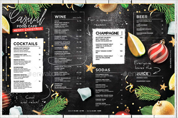 Christmas Drink Menu Template