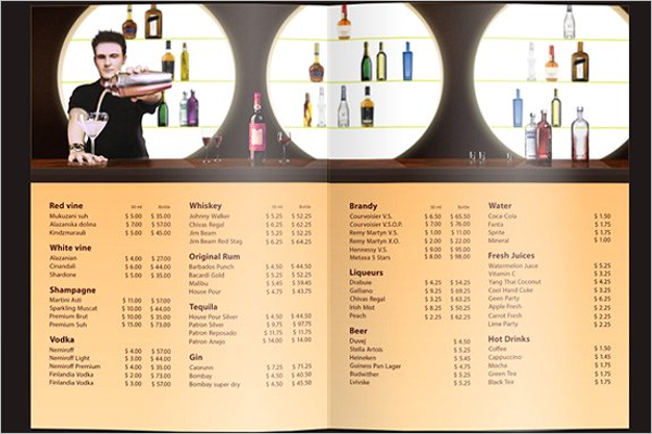 Club Drinks Menu List Idea