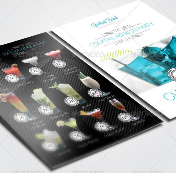 Cocktail Party Menu Card Design