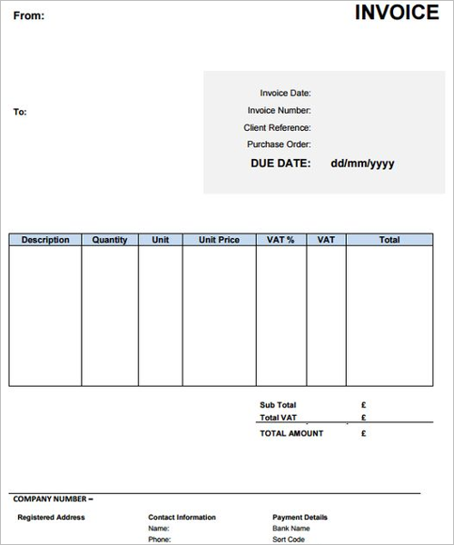 Contractor Invoice Form Template