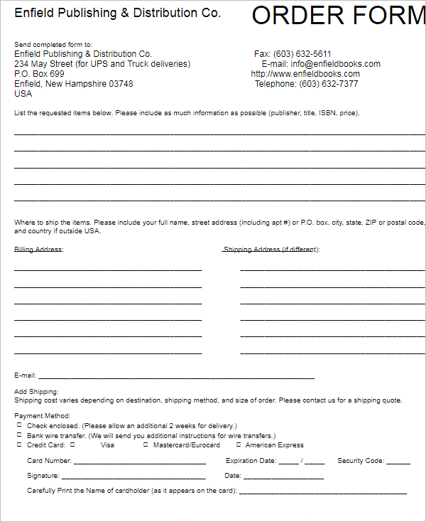 Contractor Order Form Template
