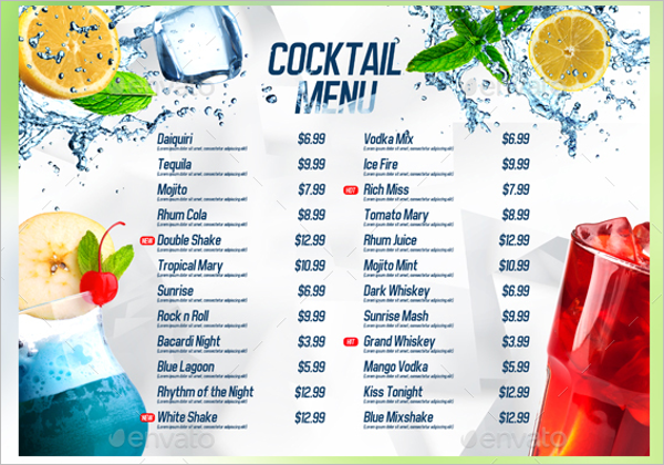 54 drink menu templates free psd word design ideas for Drink menu template microsoft word