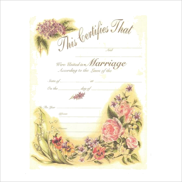 Decorative Marriage Certificate Template
