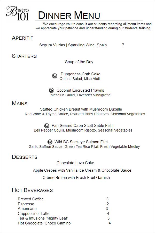 Dinner Menu Template PDF