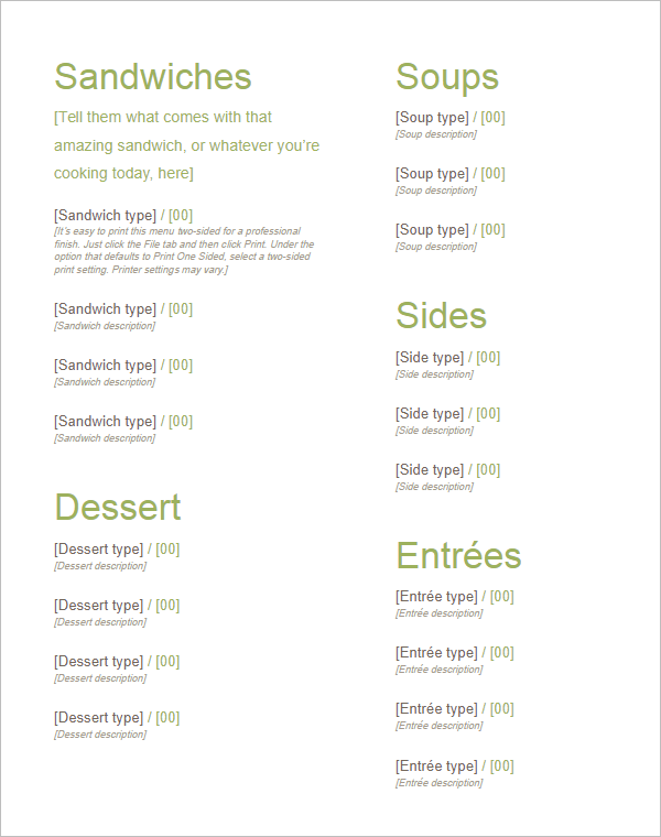 35 free menu templates word doc psd designs for Free menu templates for dinner party
